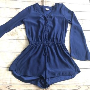 Parker 100% Silk long sleeve romper blue size S
